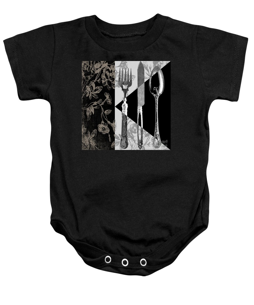 Silverware Baby Onesie featuring the painting Dinner Conversation by Mindy Sommers