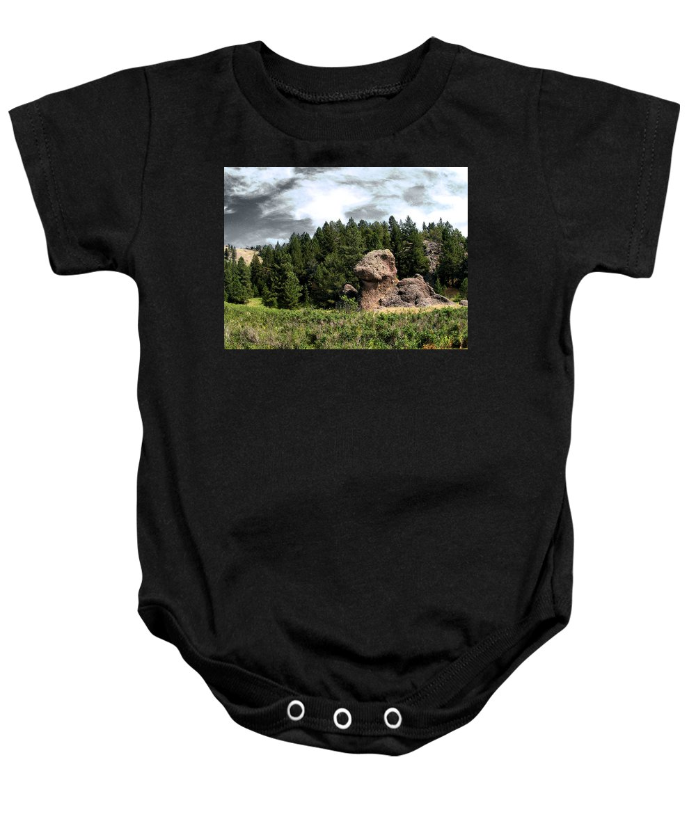Dinosaurs Baby Onesie featuring the photograph Dino Land Of The Lost by Susan Kinney