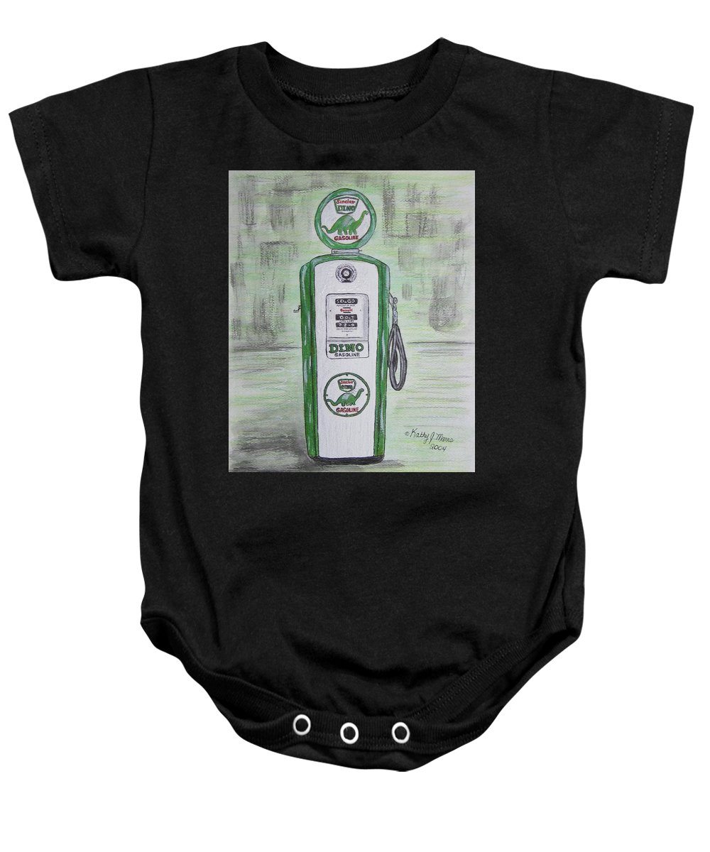 Dino Baby Onesie featuring the painting Dino Sinclair Gas Pump by Kathy Marrs Chandler