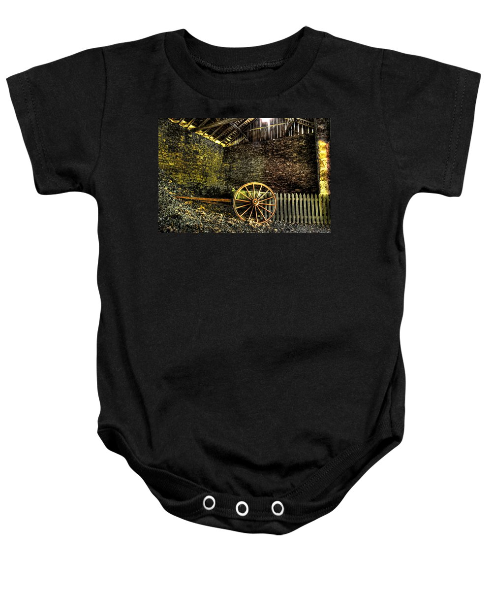 Farm Baby Onesie featuring the photograph Discarded Cart by Scott Wyatt