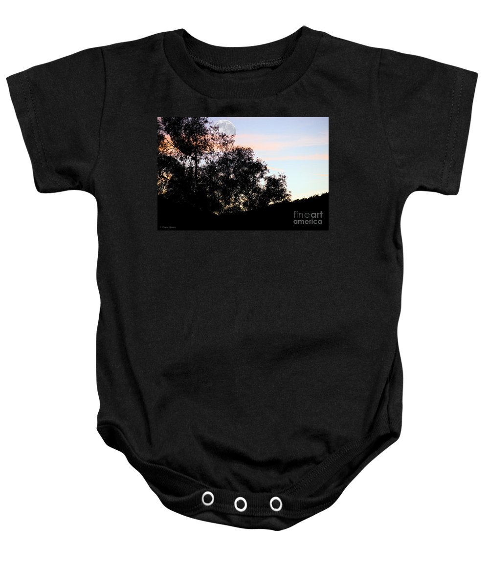Clay Baby Onesie featuring the photograph Distant Moon by Clayton Bruster