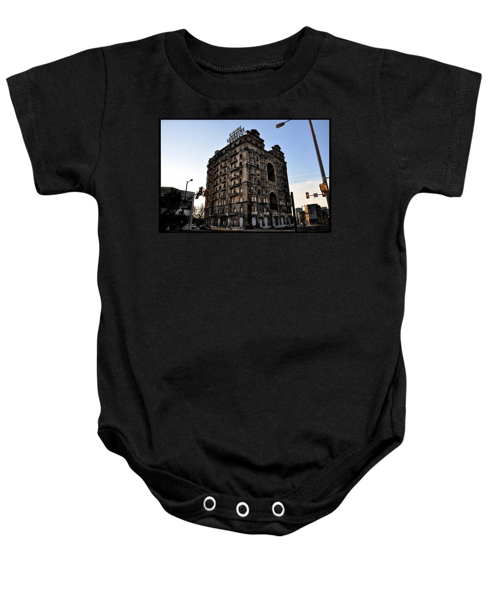 Ruins Baby Onesie featuring the photograph Divine Lorraine Hotel by Bill Cannon