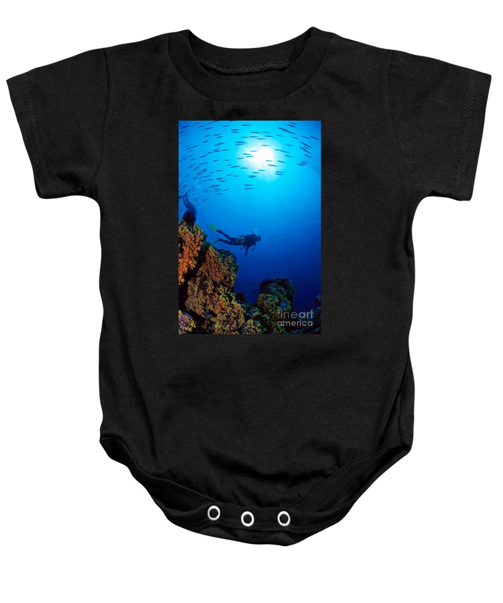 Bubble Baby Onesie featuring the photograph Diving Scene by Ed Robinson - Printscapes