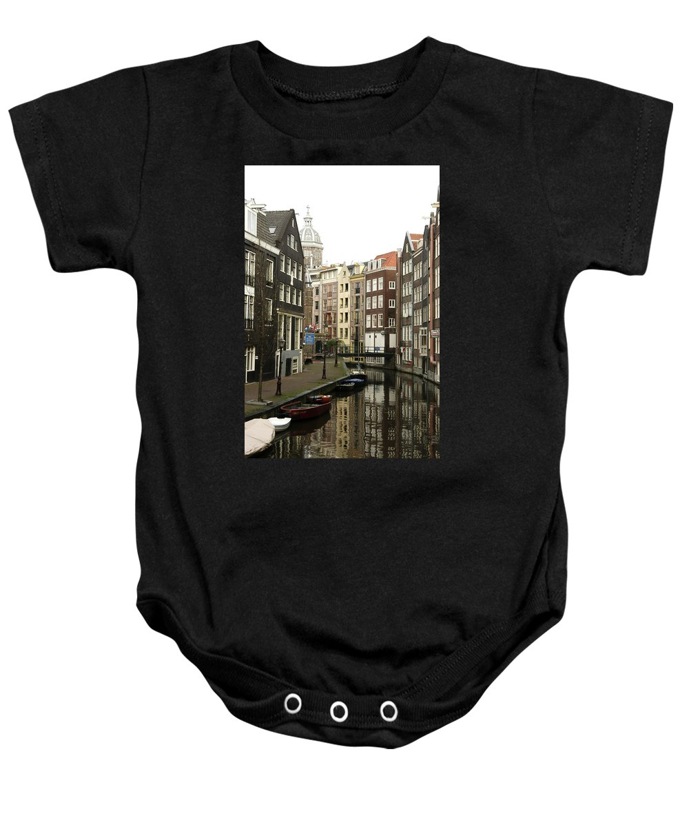 Landscape Amsterdam Red Light District Baby Onesie featuring the photograph Dnrh1101 by Henry Butz
