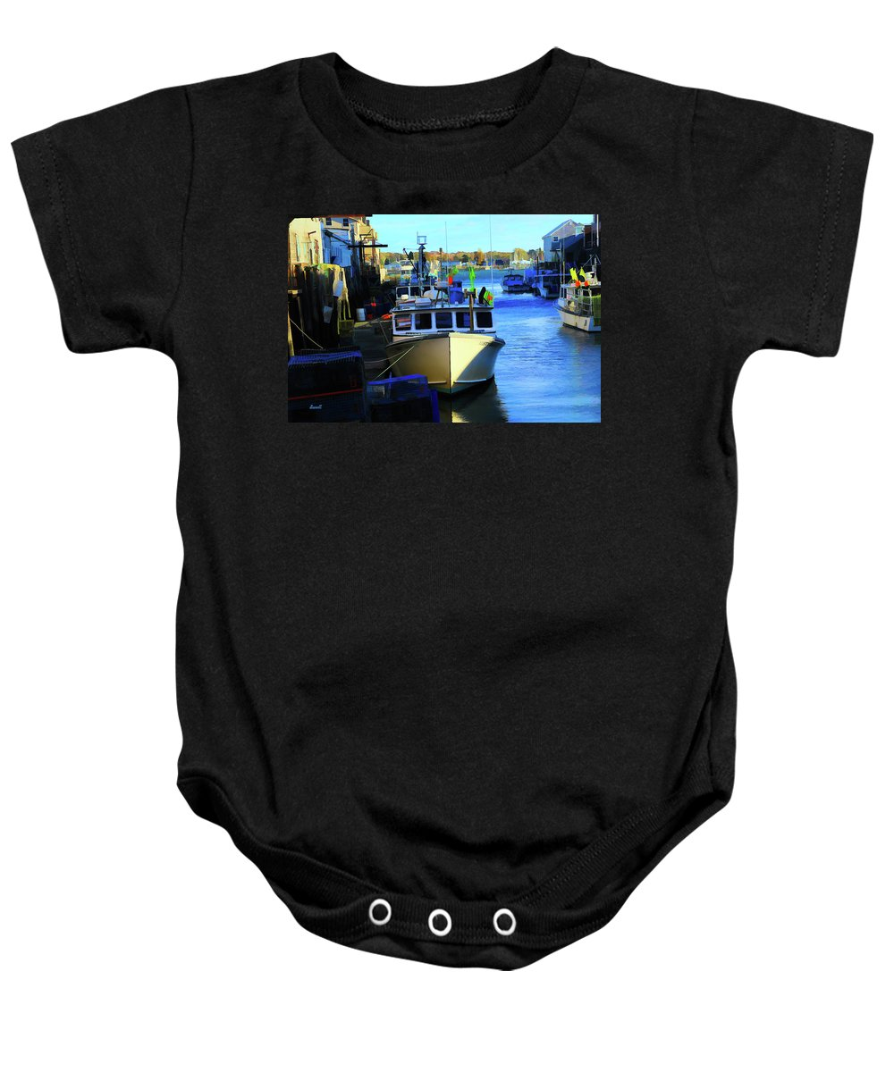 Maine Art Baby Onesie featuring the photograph Docked by Dennis Baswell