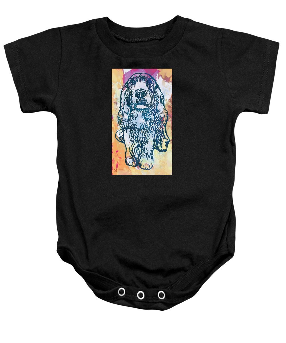 Dog Stylised Pop Morden Art Drawing Sketch Portrait. Pet Baby Onesie featuring the drawing Dog Pop Etching Art Poster by Kim Wang