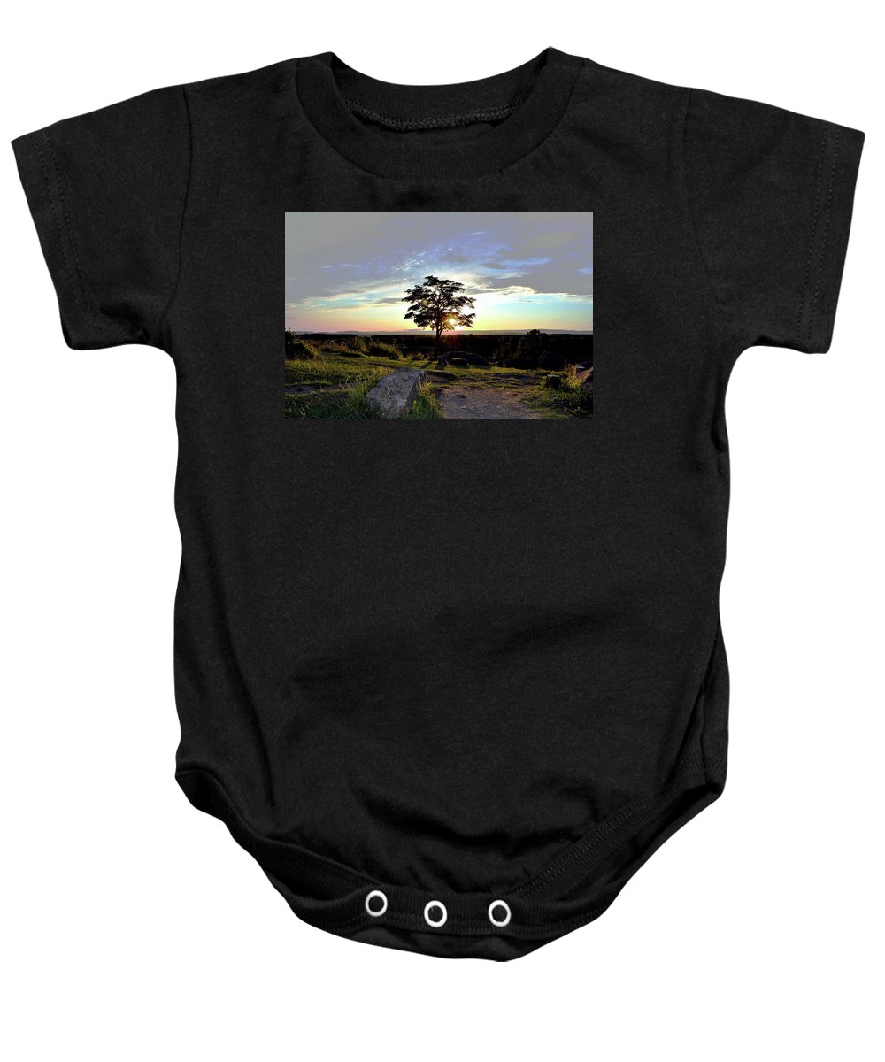Gettysburg Baby Onesie featuring the photograph Dogwood On Little Round Top by Jen Goellnitz