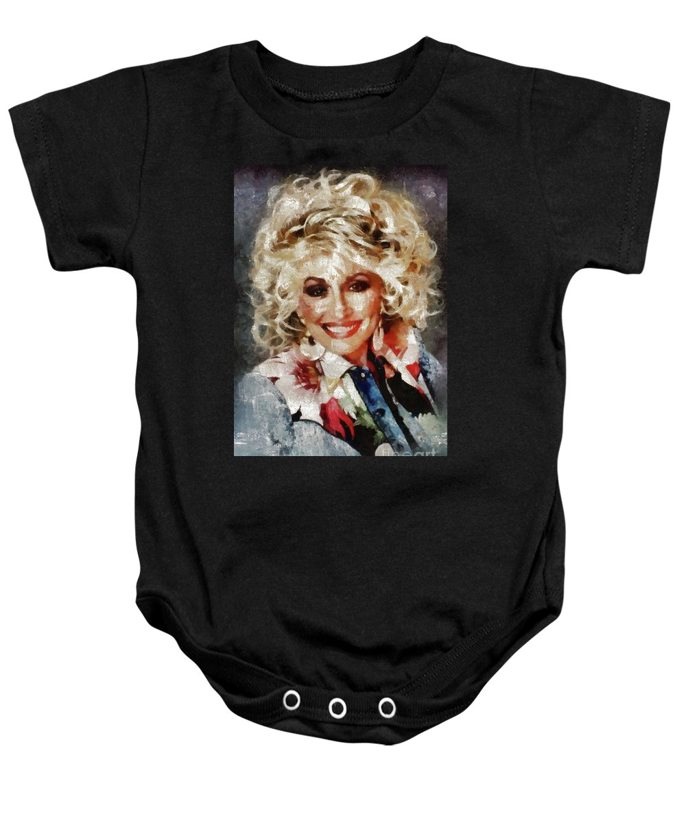 d6034ebb0 Hollywood Baby Onesie featuring the painting Dolly Parton By Mary Bassett  by Mary Bassett