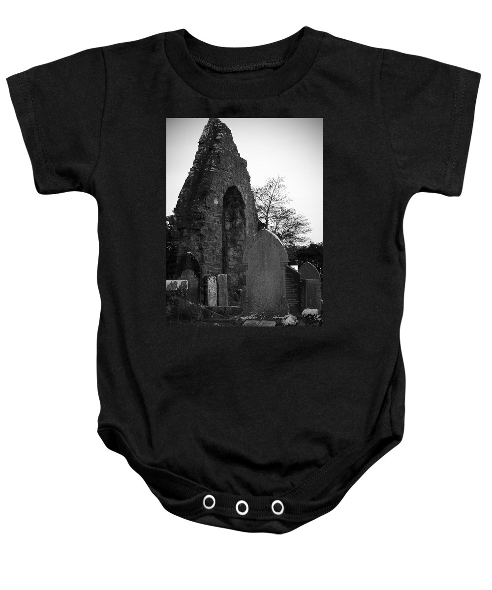 Irish Baby Onesie featuring the photograph Donegal Abbey Ruins Donegal Ireland by Teresa Mucha