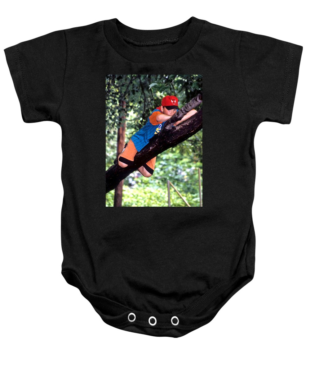 Boy Climbing Tree Baby Onesie featuring the photograph Don't Forget To Dream by Laurie Paci