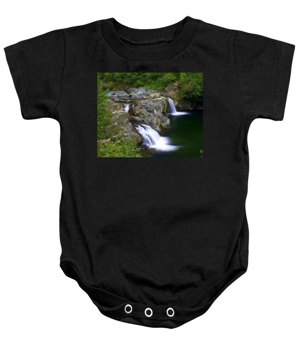 Waterfalls Baby Onesie featuring the photograph Double Falls by Marty Koch