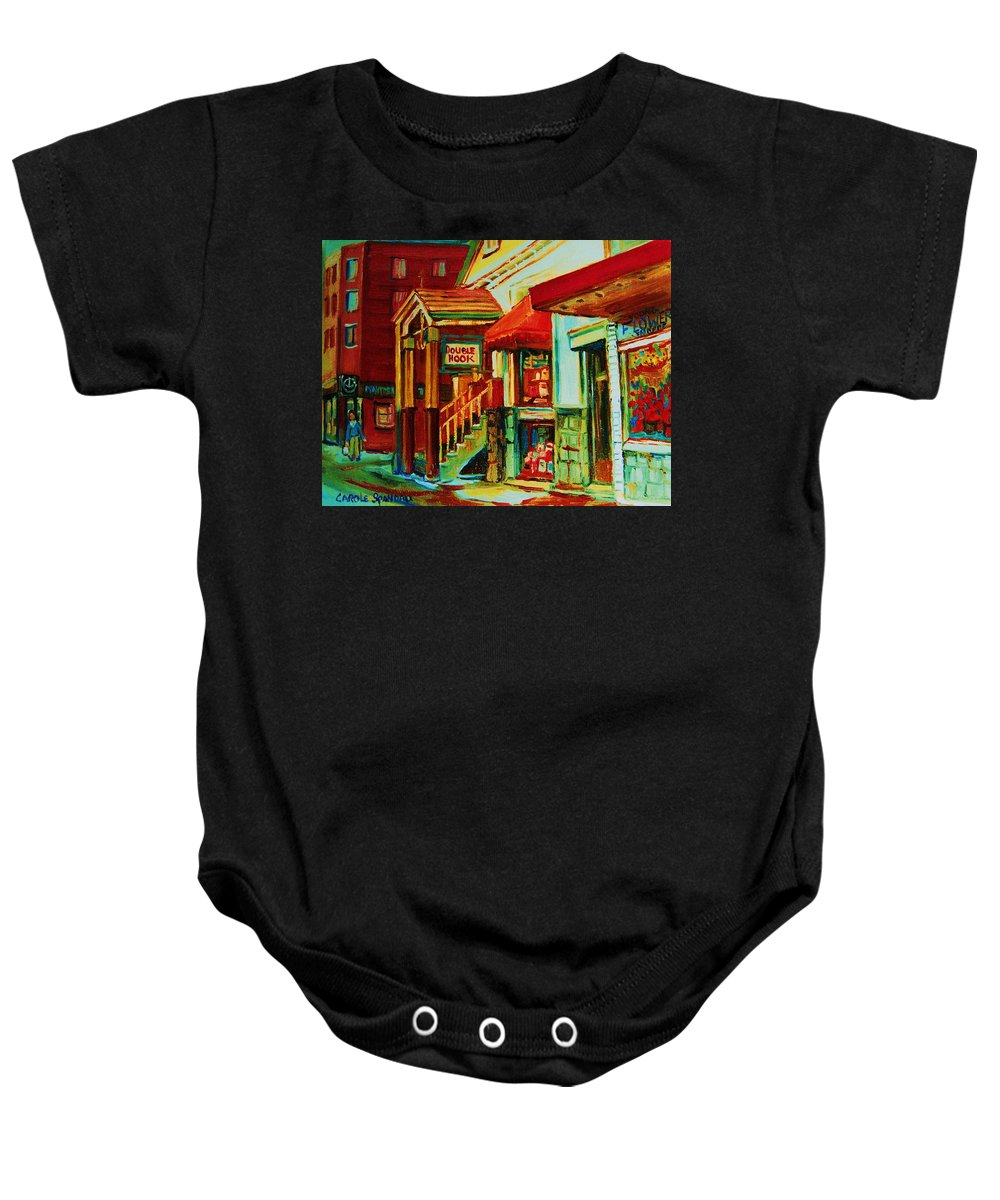 Double Hook Bookstore Baby Onesie featuring the painting Double Hook Book Nook by Carole Spandau