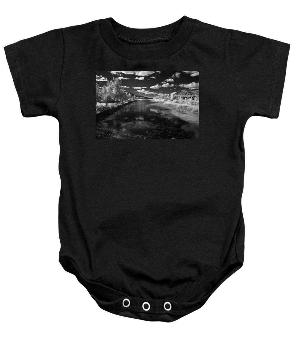 B&w Baby Onesie featuring the photograph Dover Slough 2 by Lee Santa