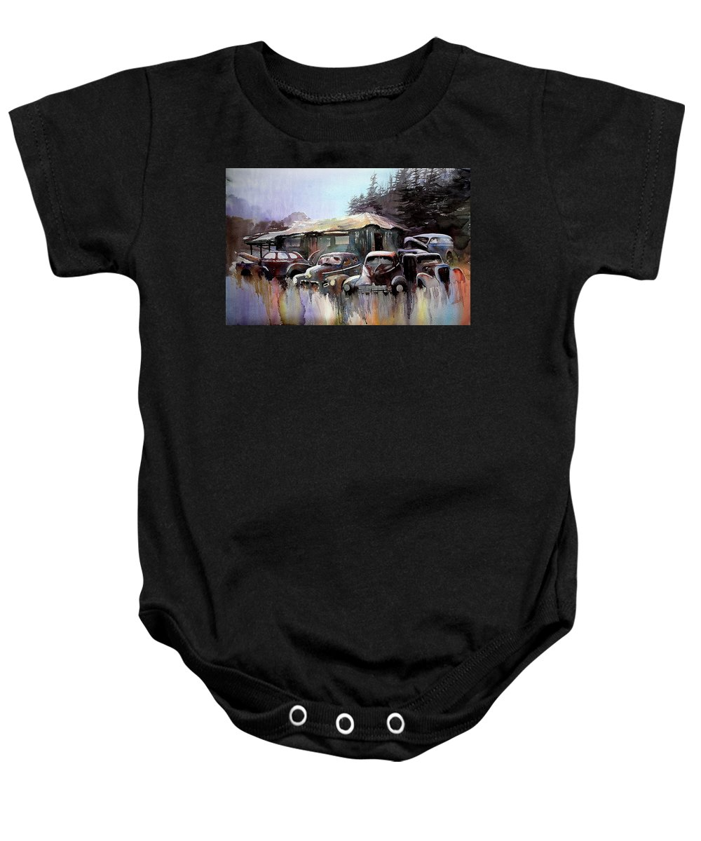 Cars House Baby Onesie featuring the painting Down In The Dell by Ron Morrison