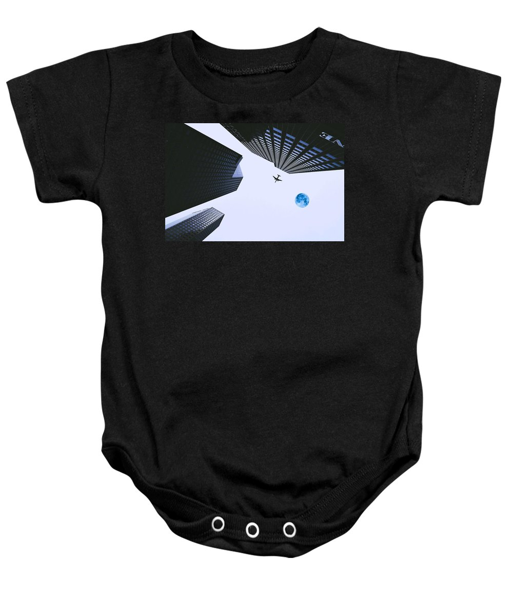 Nature Baby Onesie featuring the painting Downtown by Celestial Images