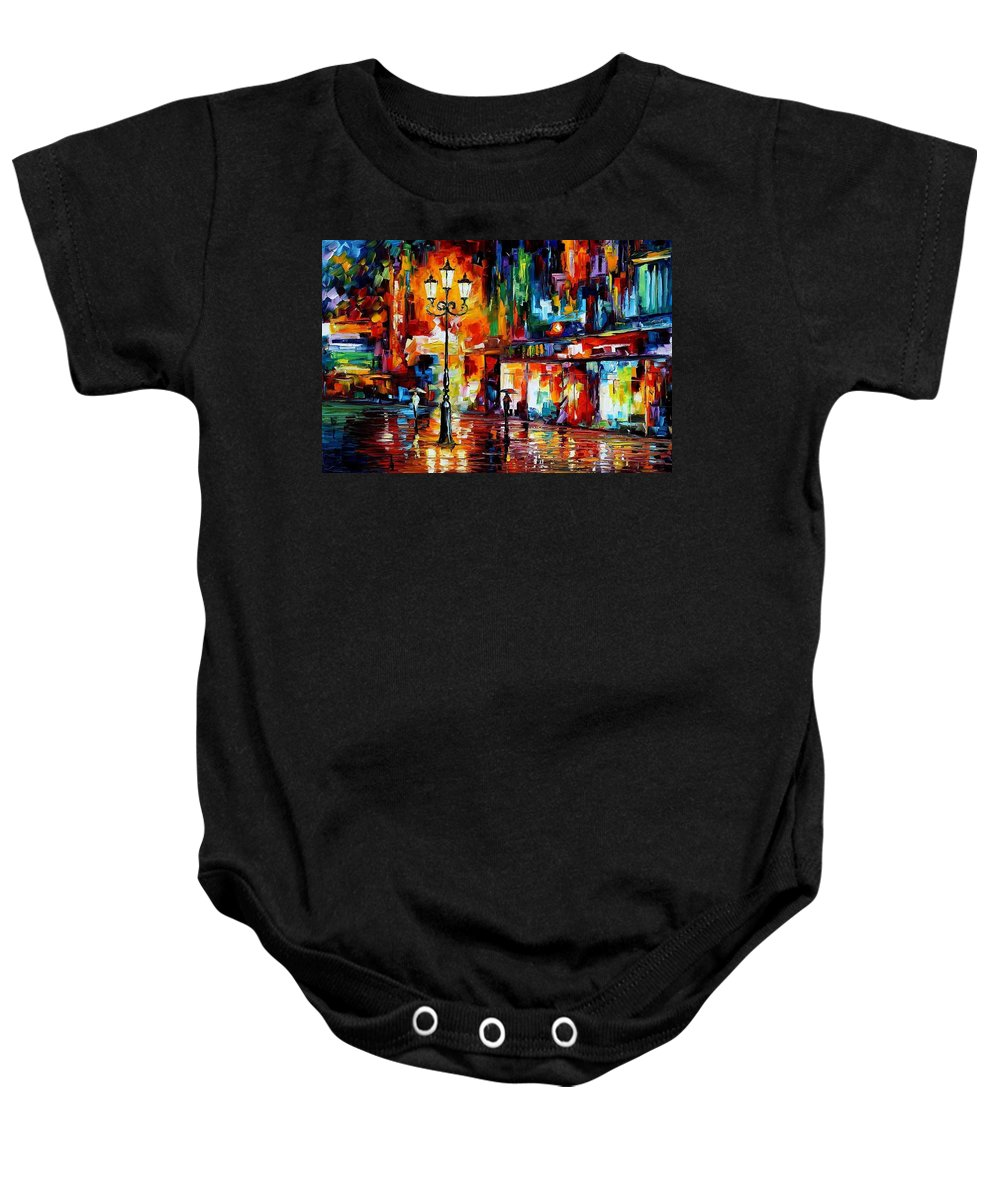 Afremov Baby Onesie featuring the painting Downtown Lights by Leonid Afremov