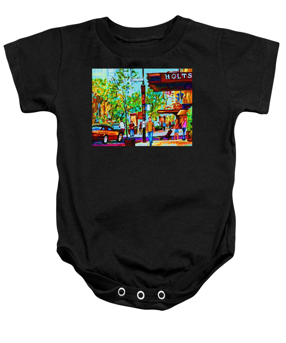 Montreal Streetscene Baby Onesie featuring the painting Downtowns Popping by Carole Spandau