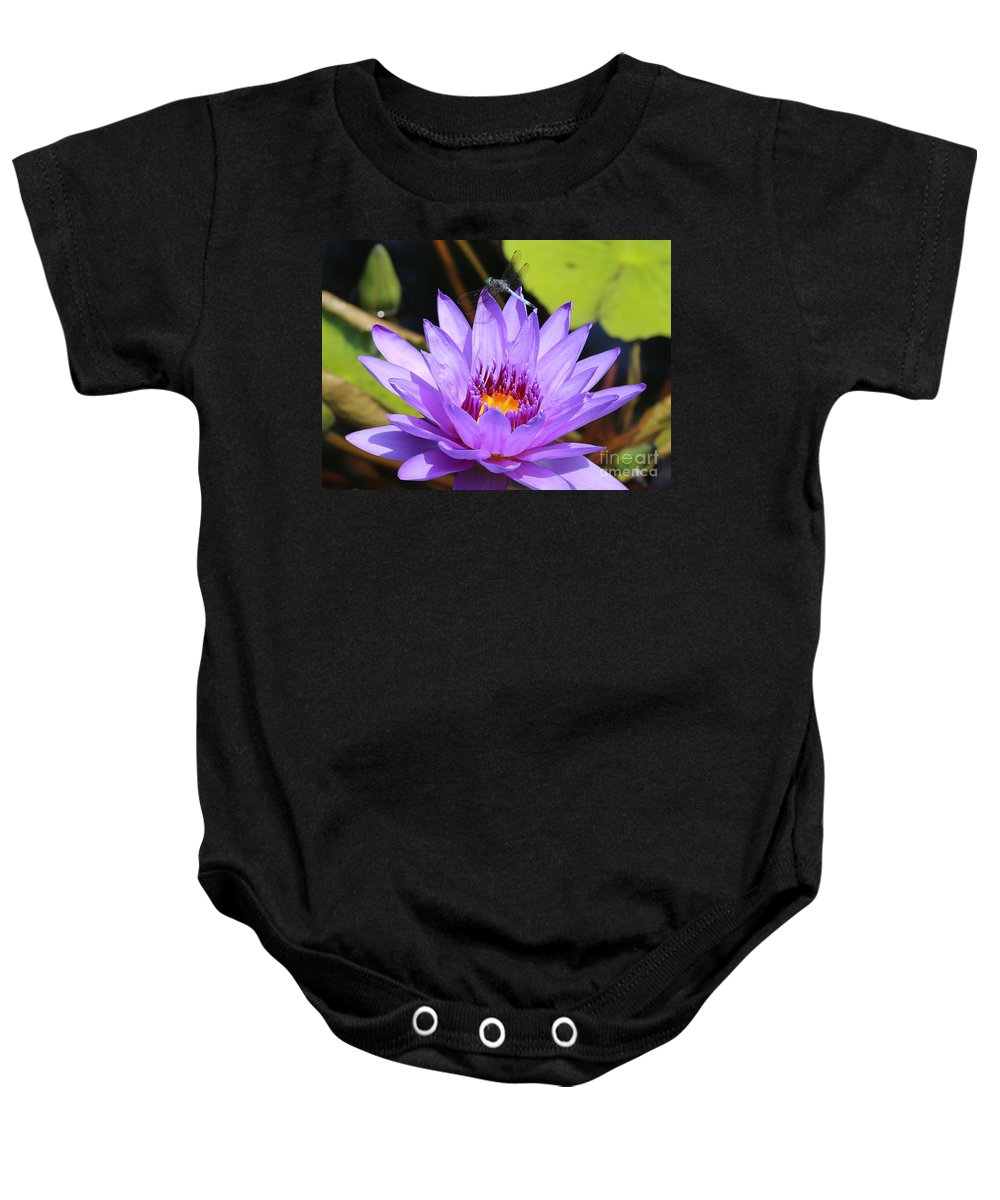 Dragonfly Baby Onesie featuring the photograph Dragonfly On Water Lily by Carol Groenen