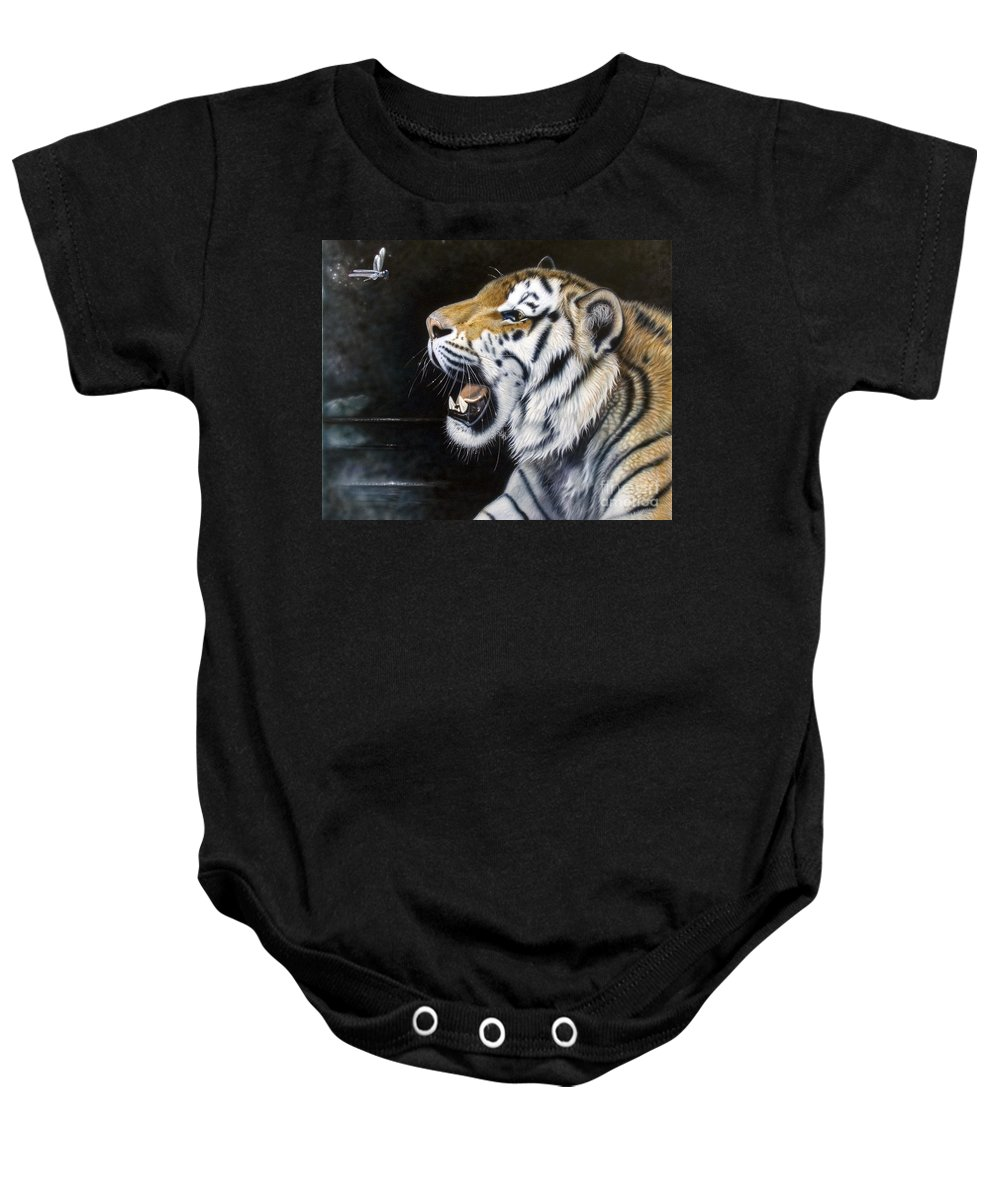 Tiger Baby Onesie featuring the painting Dragonfly by Sandi Baker