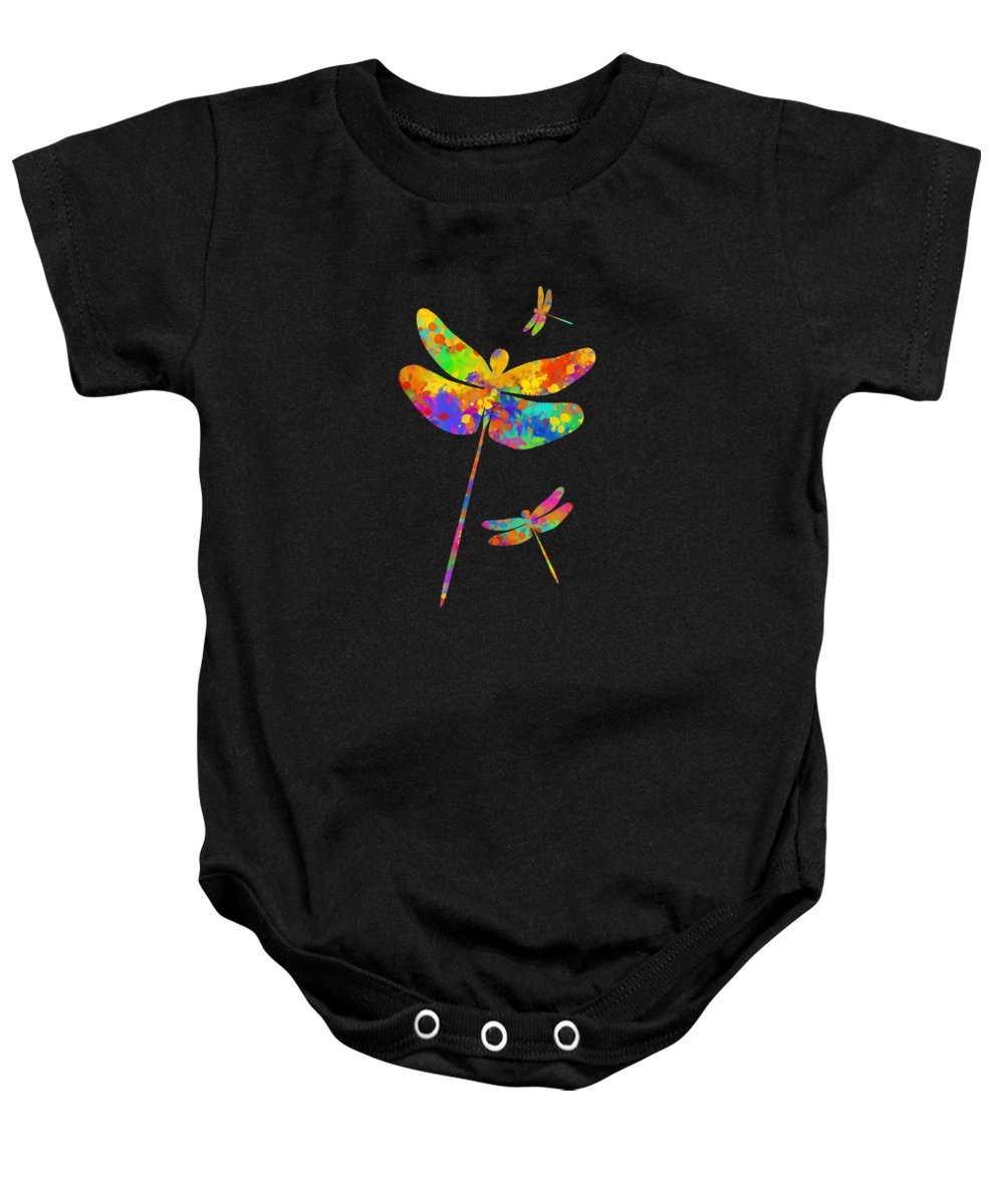 Dragonfly Watercolor Baby Onesie featuring the mixed media Dragonfly Watercolor Art by Christina Rollo