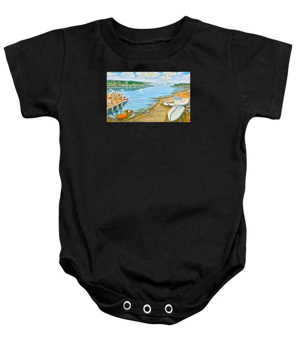 Maine Baby Onesie featuring the painting Dream Scene by Jerry White