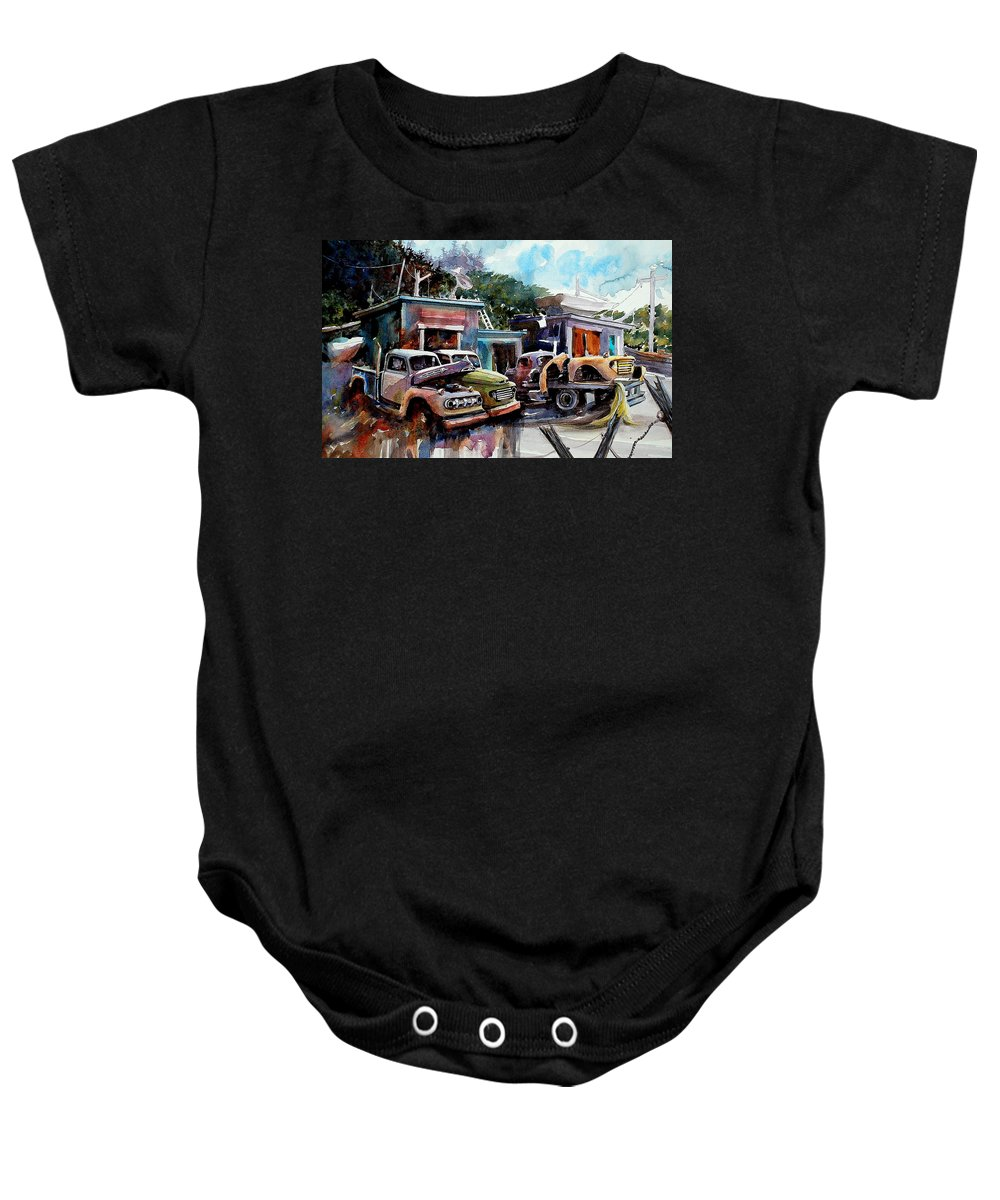 Trucks Buildings Boats Baby Onesie featuring the painting Dreamboat Woodworks by Ron Morrison