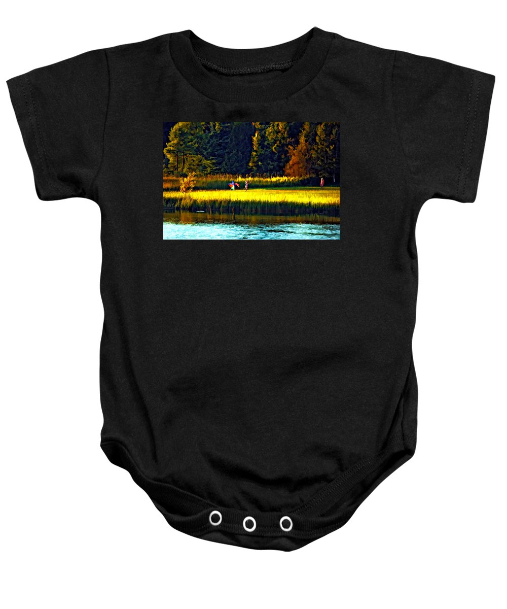 Kids Baby Onesie featuring the photograph Dreams Can Fly Paint by Steve Harrington