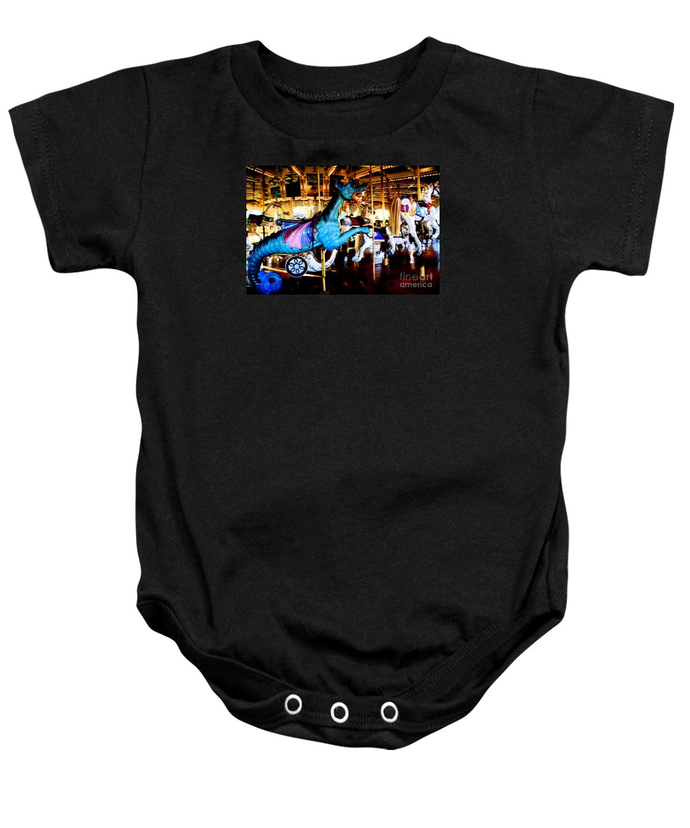 Carousel Baby Onesie featuring the photograph Dreams Take Flight by Linda Shafer