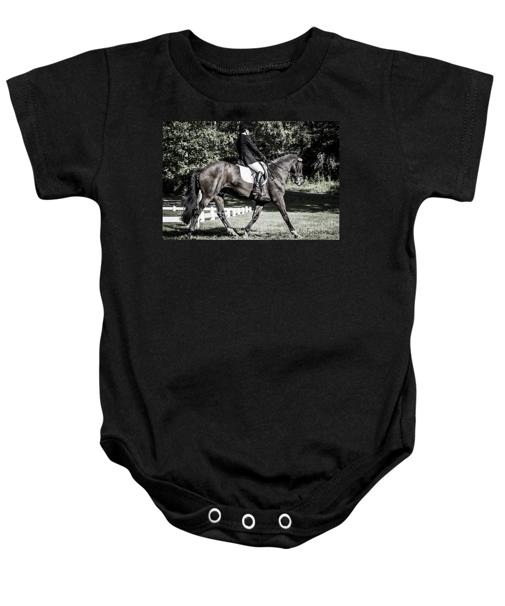 Dressage Baby Onesie featuring the photograph Dressage Warm Up by Joann Long