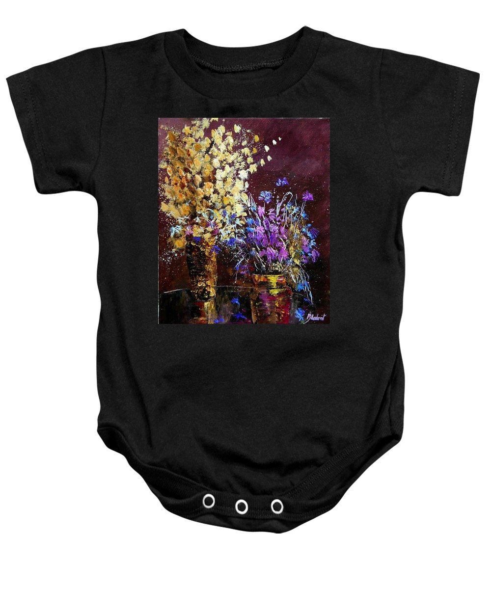 Flowers Baby Onesie featuring the painting Dried Flowers by Pol Ledent
