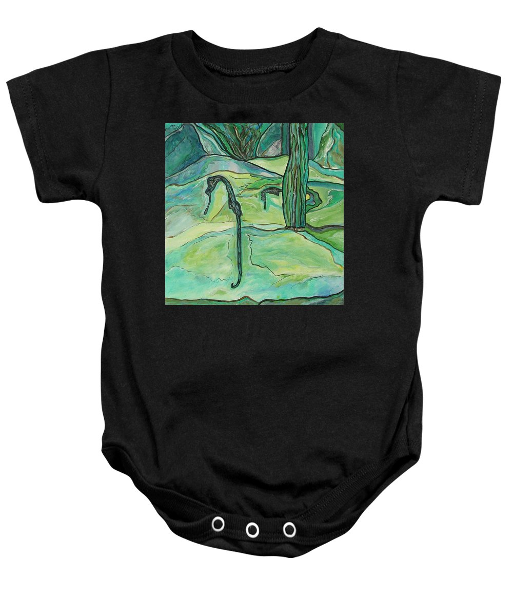 Seahorse Baby Onesie featuring the painting Drifting Seahorse by Heather Lennox