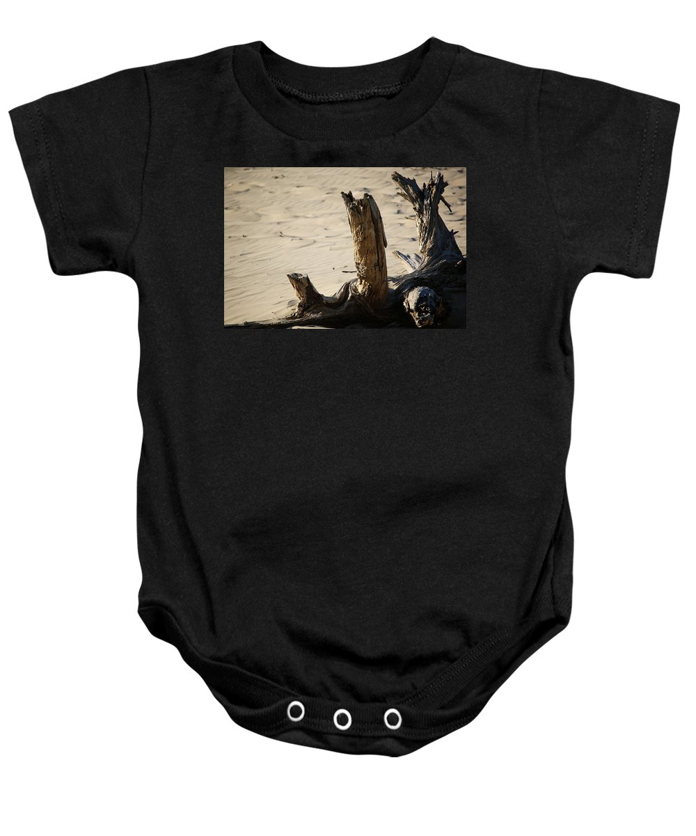 Baby Onesie featuring the photograph Driftwood by Crooked Cat Art and Photography
