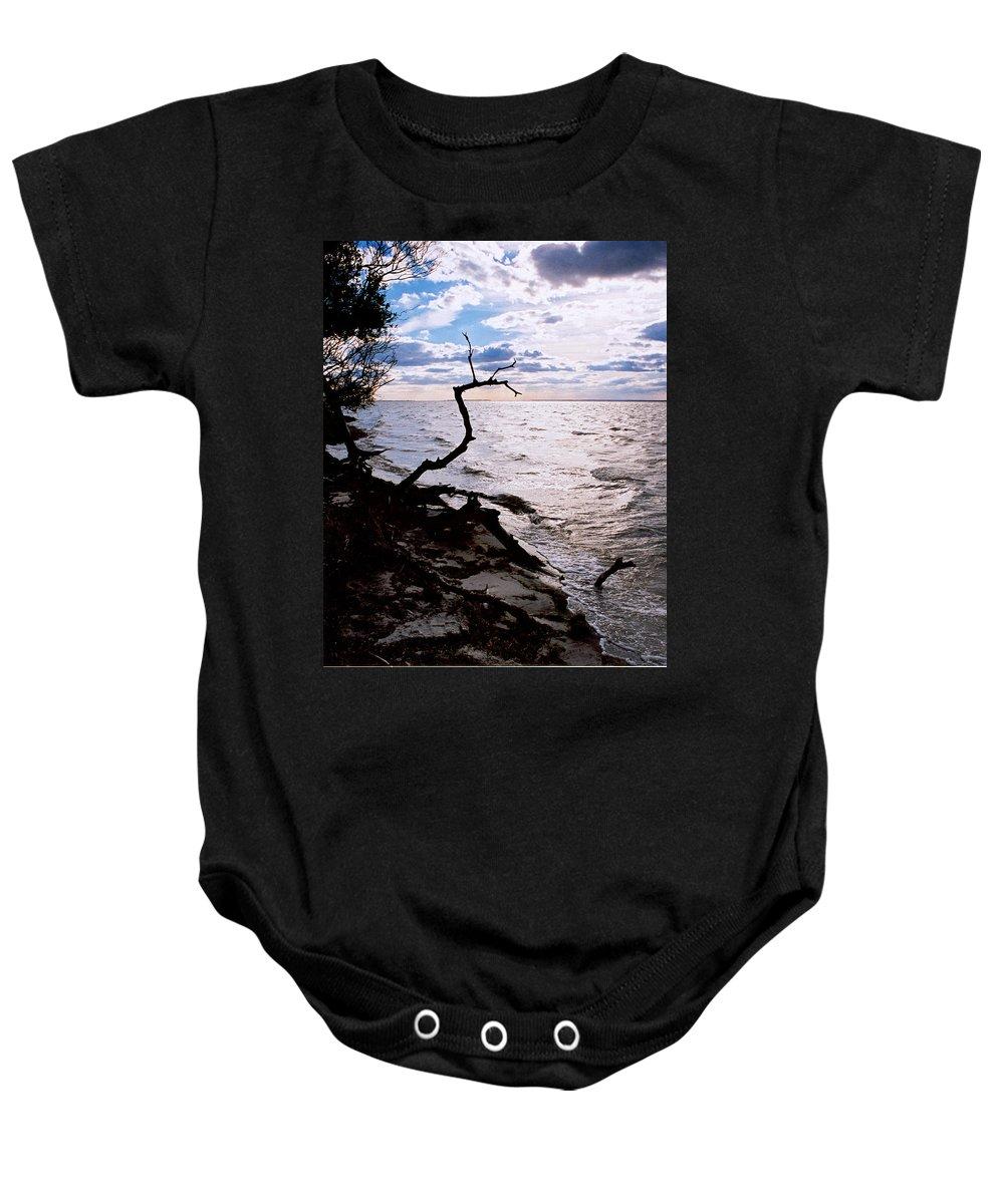 Barnegat Baby Onesie featuring the photograph Driftwood Dragon-Barnegat Bay by Steve Karol