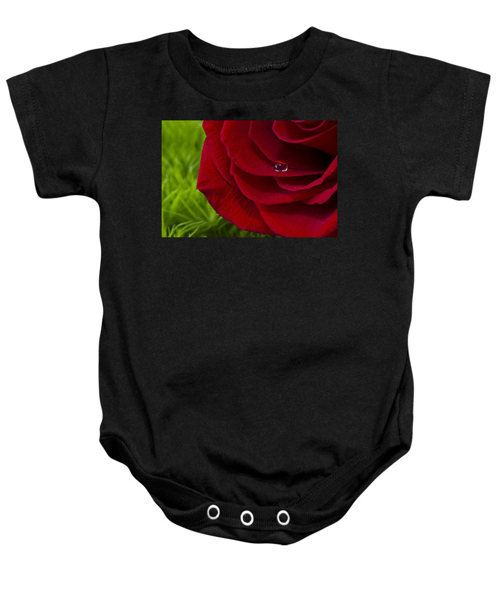 Rose Baby Onesie featuring the photograph Drop On A Rose by Marlo Horne