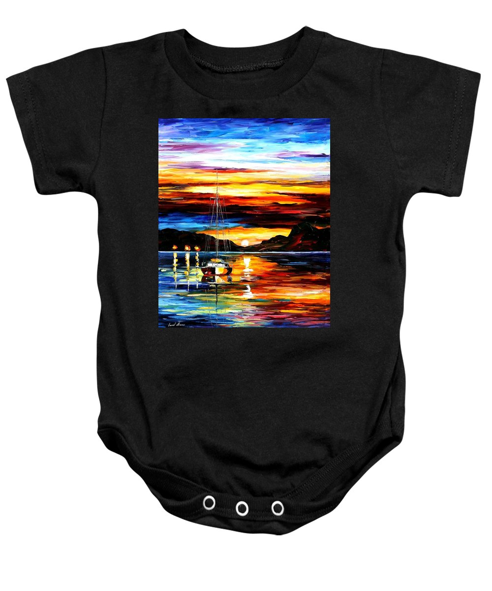 Afremov Baby Onesie featuring the painting Drowned Sunset by Leonid Afremov