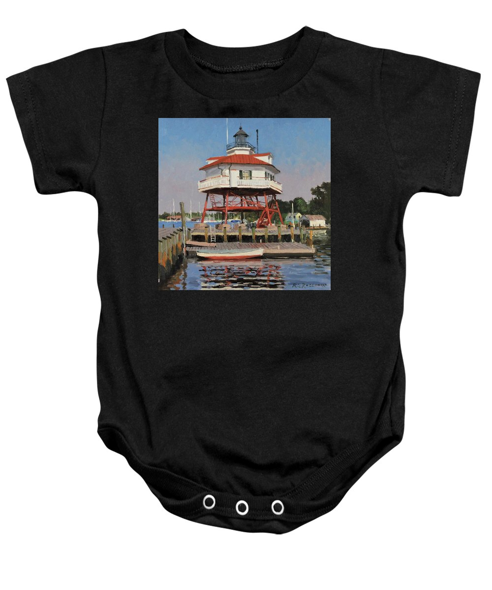 Water Baby Onesie featuring the painting Drum Point Lighthouse by Roelof Rossouw