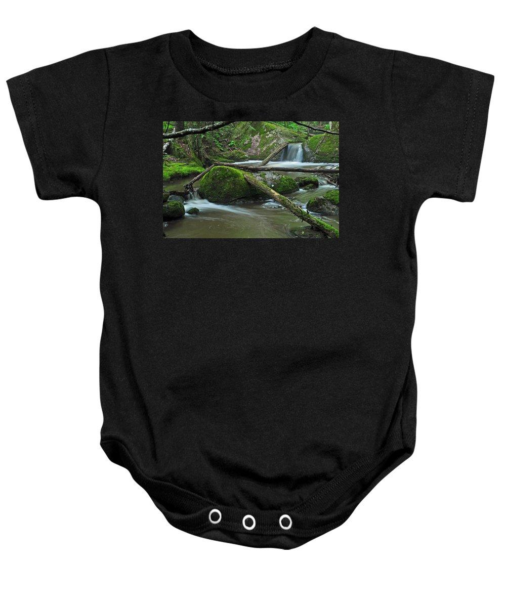 Stream Baby Onesie featuring the photograph Dual Falls by Glenn Gordon