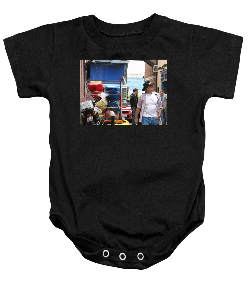Alley Baby Onesie featuring the photograph Dublin Alley by Kelly Mezzapelle