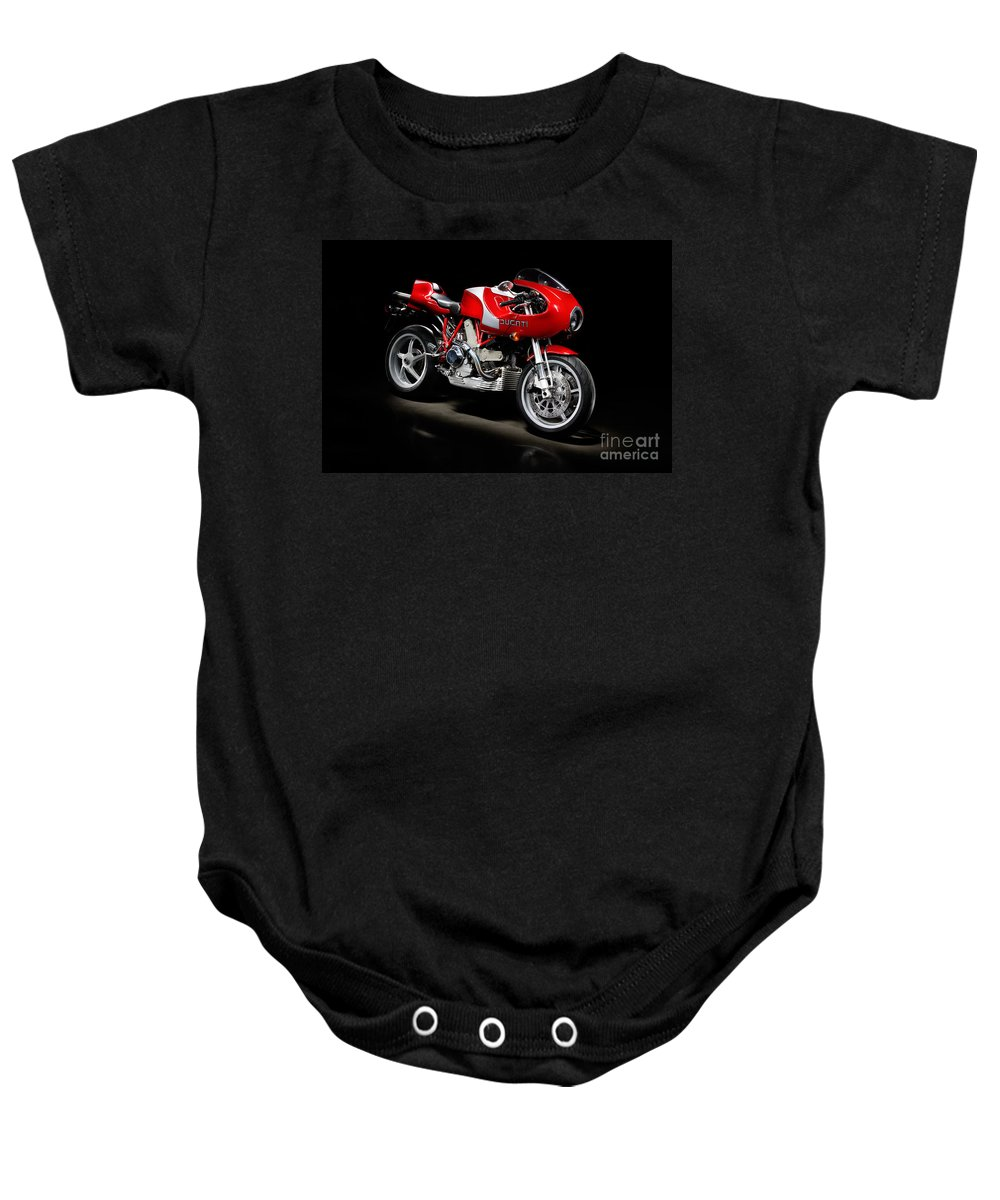Motorcycle Baby Onesie featuring the photograph Ducati Mhe Mike Hailwood Evoluzione by Frank Kletschkus