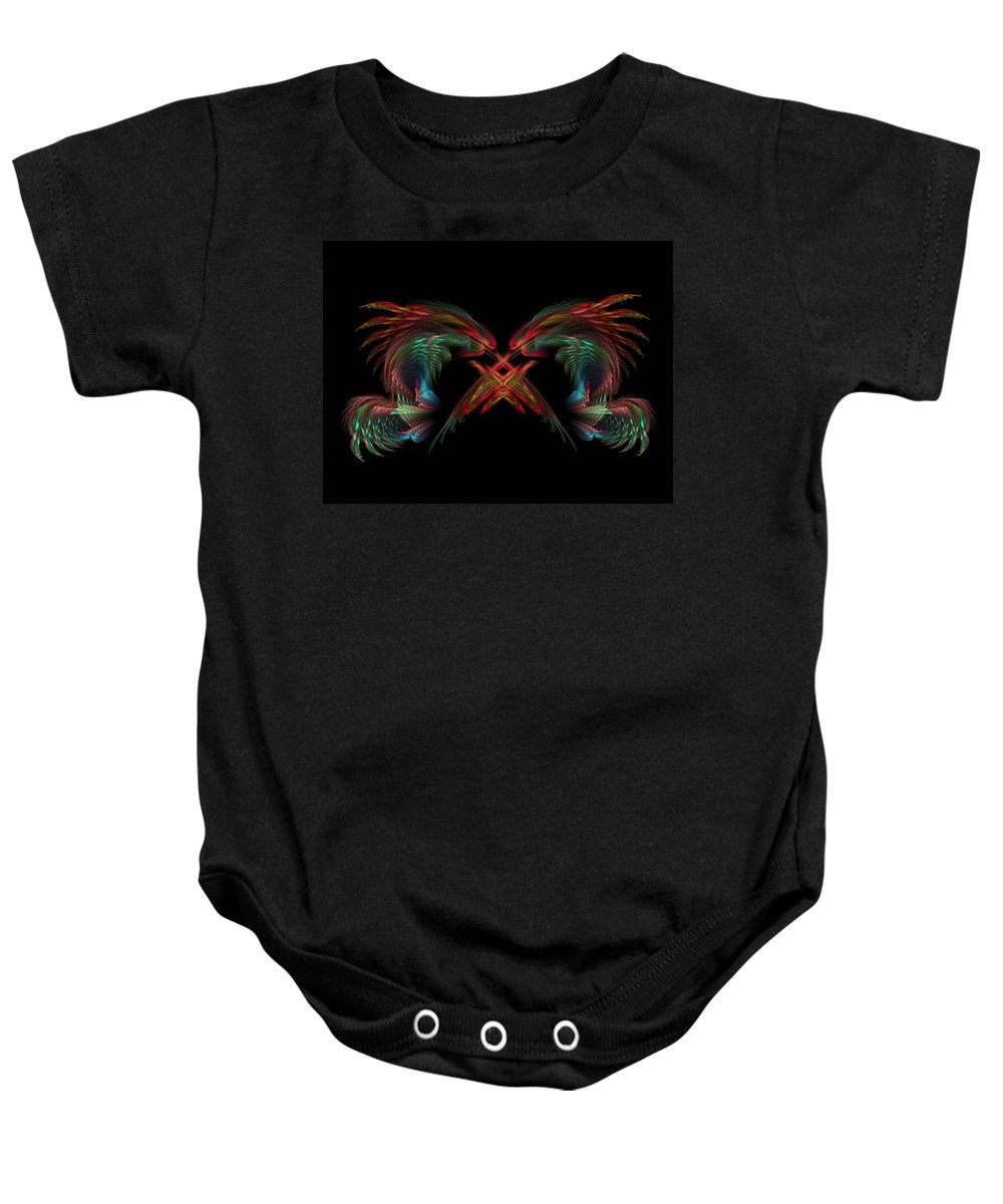 Dragons Baby Onesie featuring the digital art Dueling Dragons by Lyle Hatch