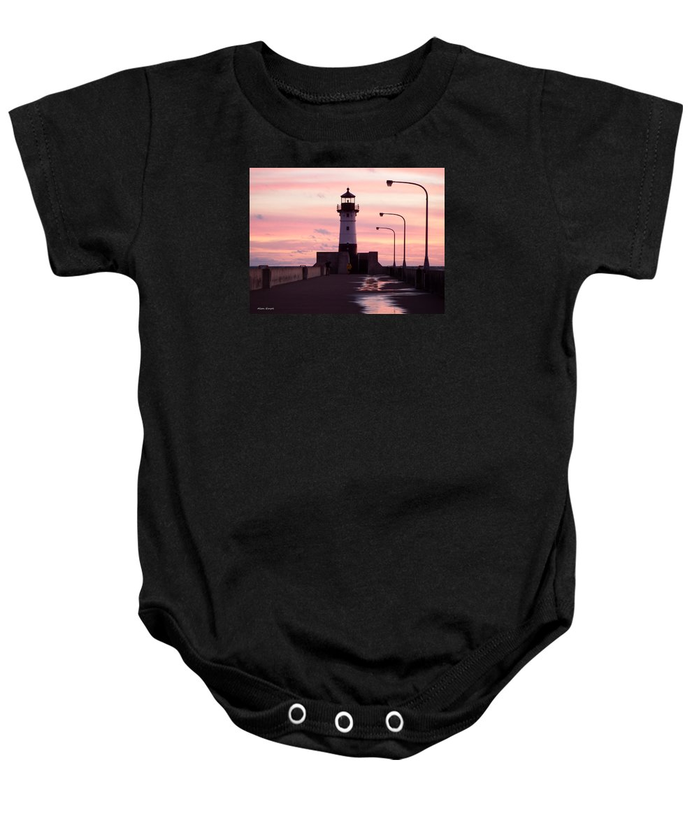 Lighthouses Baby Onesie featuring the photograph Duluth Sunrise by Alison Gimpel