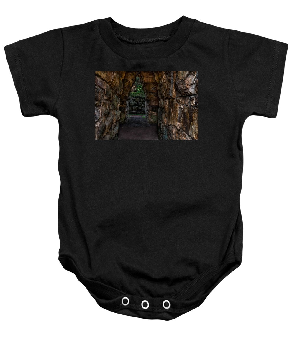 Randy Walton Baby Onesie featuring the photograph Dungeon Walls by Randy Walton