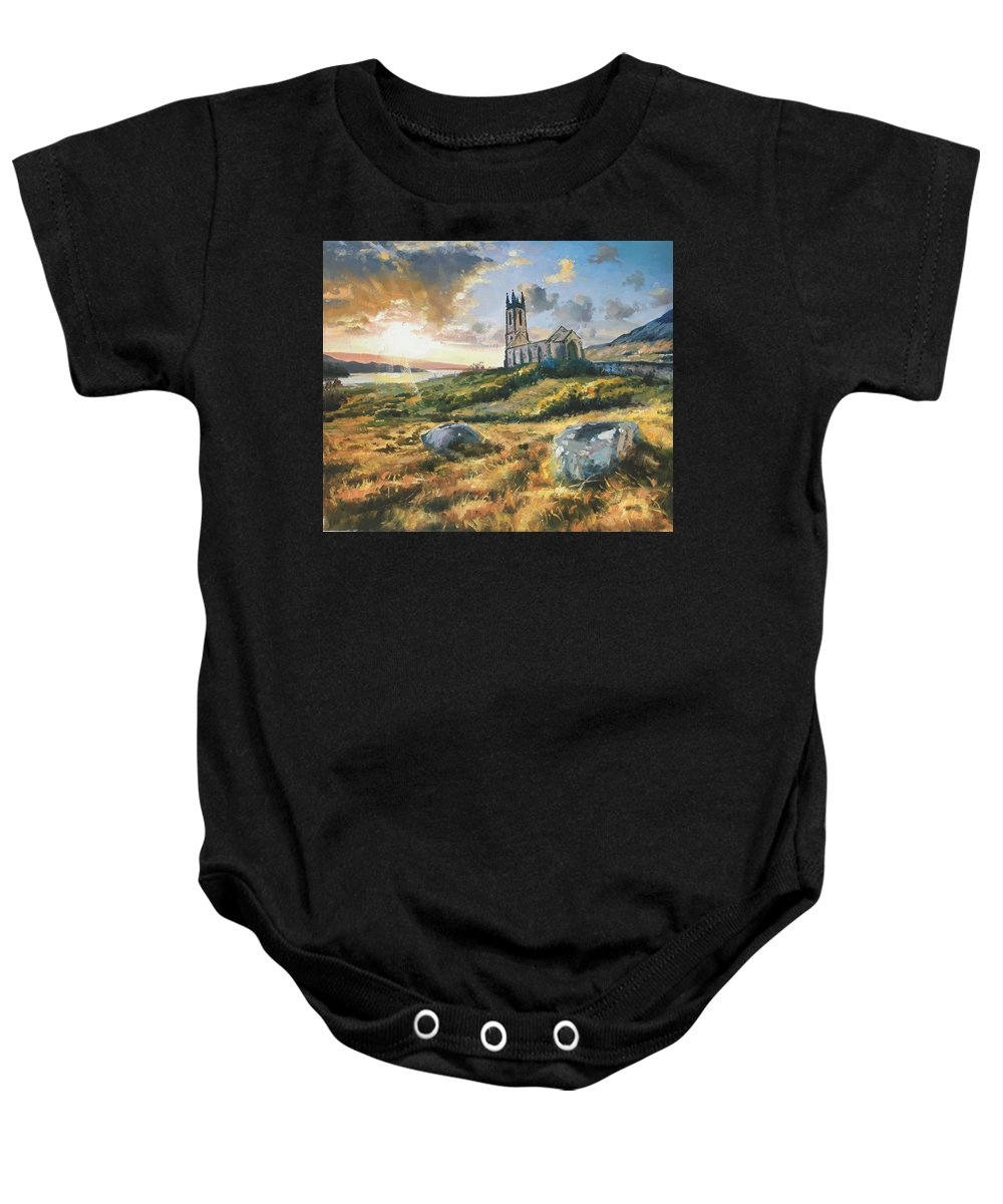 Sun Light Baby Onesie featuring the painting Dunlewy Church by Conor McGuire