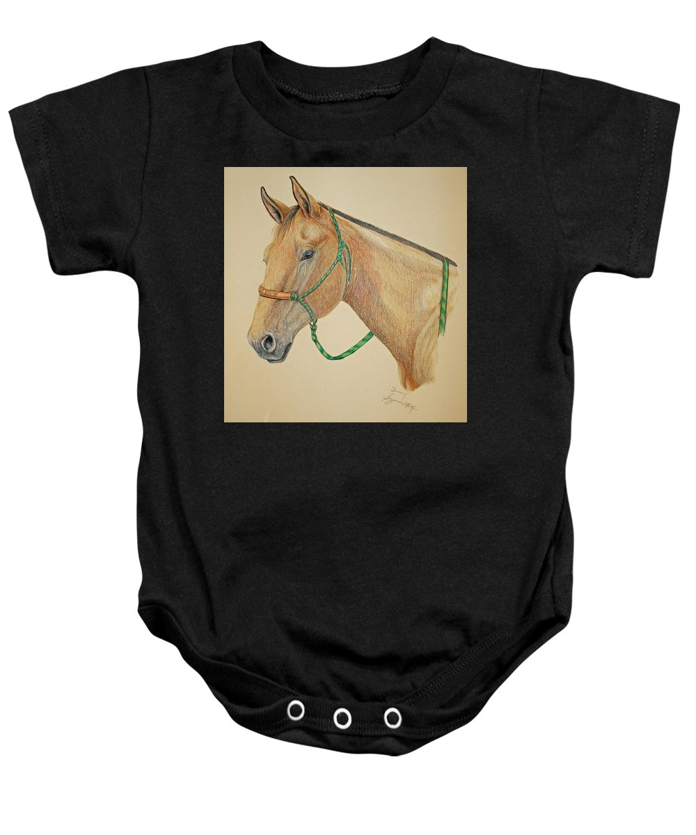 Equine Baby Onesie featuring the drawing Dunny by Suzanne McKee