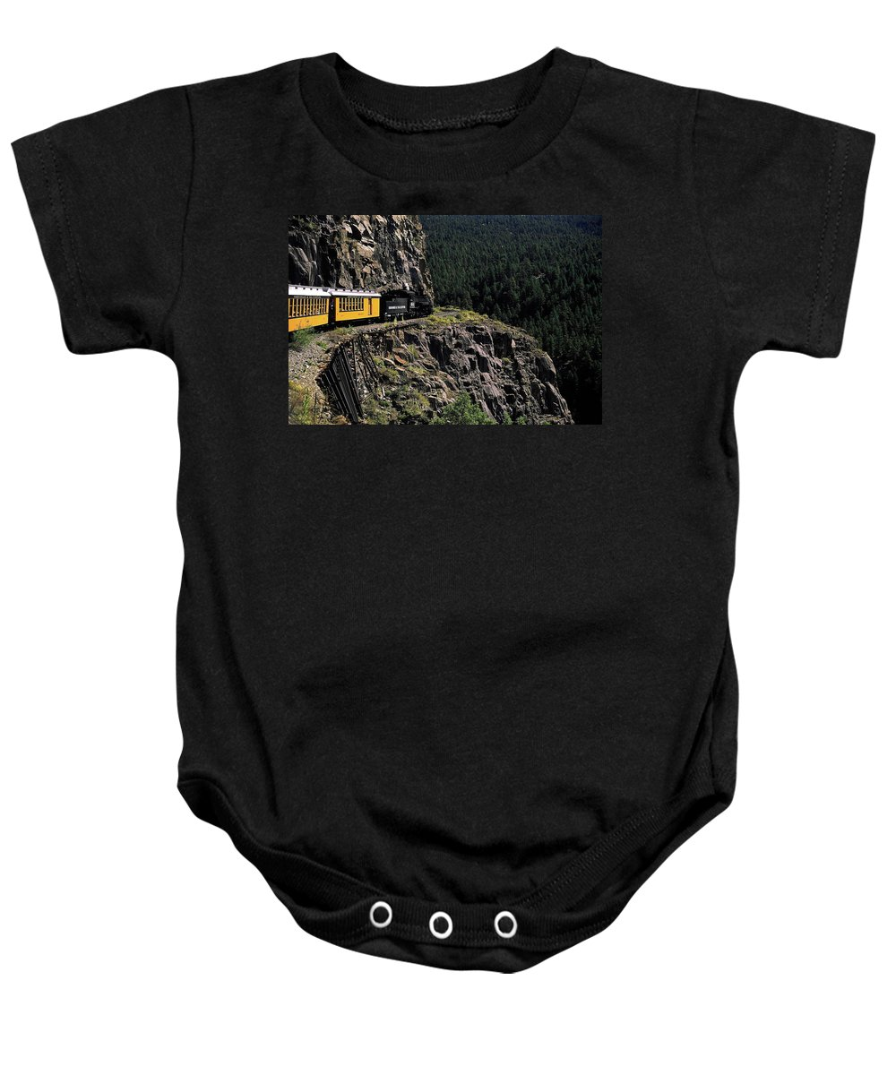 Durango & Silverton Train Rounding Curve Baby Onesie featuring the photograph Durango - Silverton Train by Sally Weigand