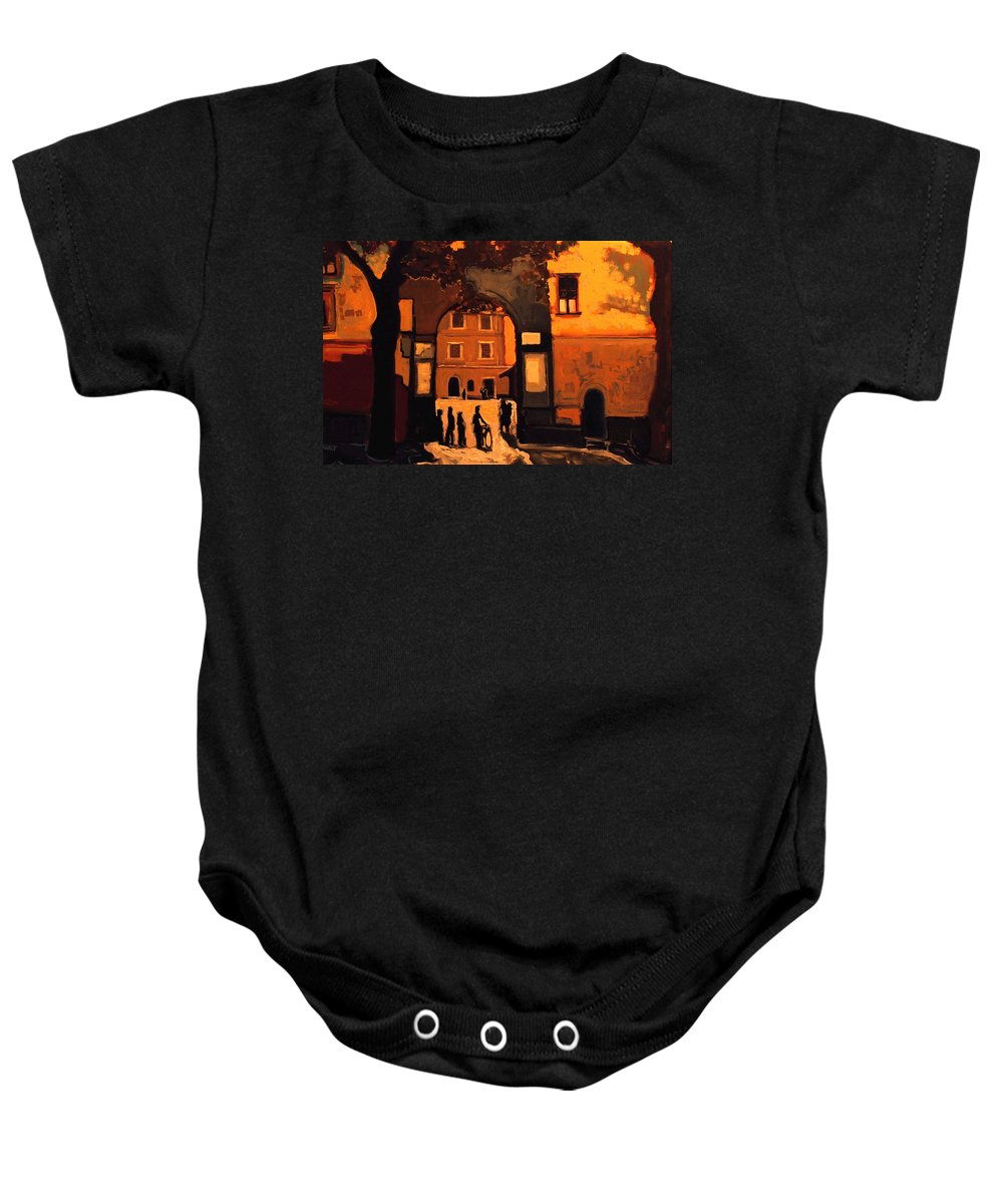 Cityscape Baby Onesie featuring the painting Dusk by Kurt Hausmann