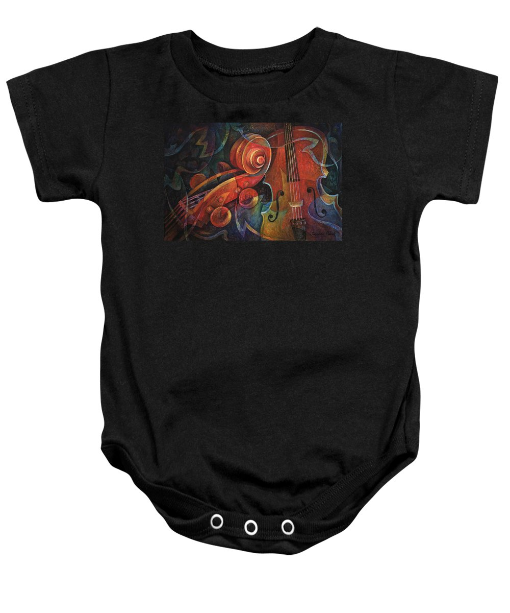 Susanne Clark Baby Onesie featuring the painting Dynamic Duo - Cello And Scroll by Susanne Clark