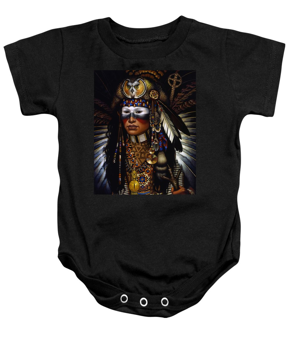 Indian Baby Onesie featuring the painting Eagle Claw by Jane Whiting Chrzanoska