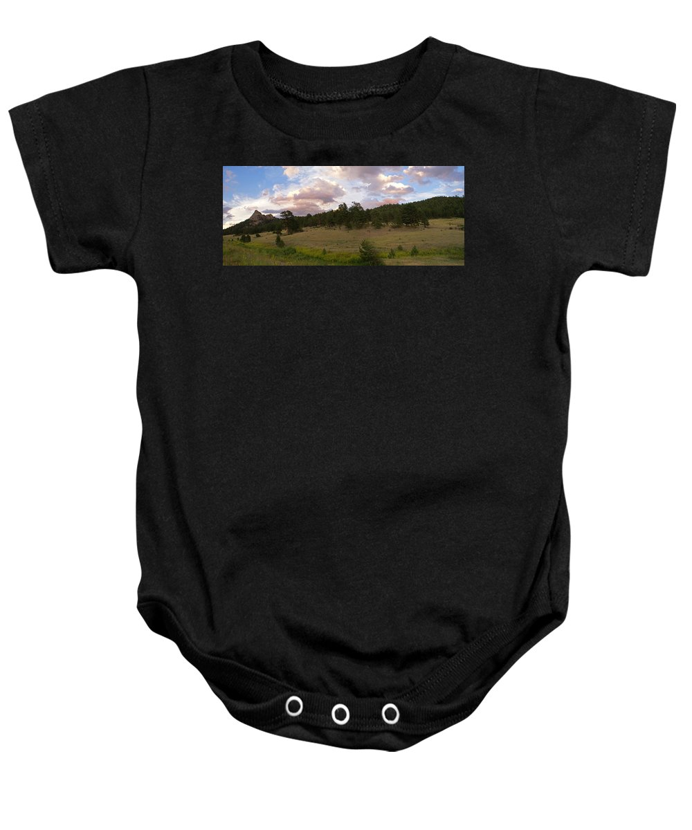 Eagle Roick Baby Onesie featuring the photograph Eagle Rock Estes Park Colorado by Heather Coen