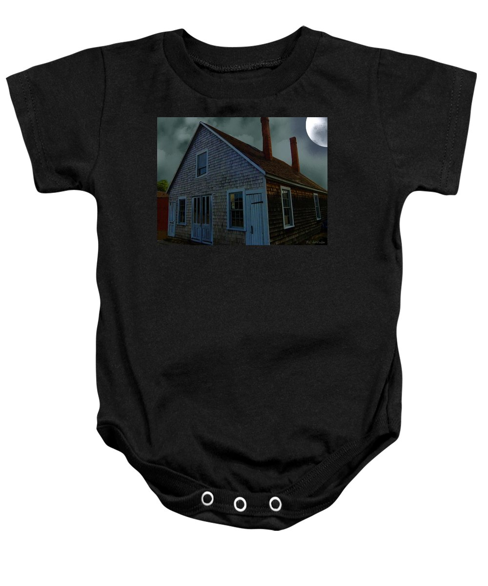 Autumn Baby Onesie featuring the painting Early American Moonlight by RC DeWinter